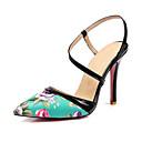 ieftine Tocuri de Damă-Pentru femei Pantofi Piele Originală / PU Primavara vara Pantofi pe Gleznă Sandale Plimbare Toc Stilat Vârf ascuțit Negru / Albastru /