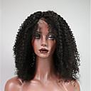 お買い得  人毛レースウィッグ-レミーヘア フロントレース かつら ブラジリアンヘア / 変態カーリー カール 150% 密度 女性用 ショート 人毛レースウィッグ