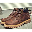 رخيصةأون أحذية أوكسفورد للرجال-للرجال جزم القتالية PU شتاء كتب رمادي / أصفر / بني