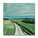 cheap Abstract Paintings-STYLEDECOR Modern Hand Painted Abstract The Path in The Green Field Oil Painting on Canvas for Wall Art
