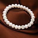 preiswerte Schmuckset-Damen Kristall / Süßwasserperle Strang-Armbänder - Perle, S925 Sterling Silber, Süßwasserperle Einfach, Natur, Süß Armbänder Weiß Für Geschenk / Alltag