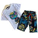tanie Topy dla chłopców-Dzieci / Brzdąc Dla chłopców Aktywny / Podstawowy Święto Geometric Shape Nadruk Krótki rękaw Bawełna Komplet odzieży