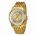 hesapli Lüks Saatler-Erkek Elbise Saat Çince Kronograf / Büyük Kadran / Havalı Paslanmaz Çelik Bant Lüks Gümüş / Altın Rengi