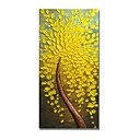 cheap Abstract Paintings-STYLEDECOR Modern Hand Painted Curved Yellow Flowers Tree Oil Painting on Canvas Wall Art