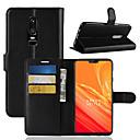 זול מגנים לטלפון & מגני מסך-מגן עבור OnePlus OnePlus 6 / OnePlus 5T מחזיק כרטיסים / ארנק / נפתח-נסגר כיסוי מלא אחיד קשיח עור PU ל OnePlus 6 / One Plus 5 / OnePlus 5T