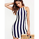 cheap Flashlights & Camping Lanterns-Women's Skinny Bodycon Dress - Striped Crew Neck / Summer / Backless