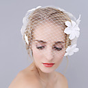 preiswerte Hochzeitsschleier-Einschichtig Euramerican Hochzeitsschleier Gesichts Schleier mit Verstreute Perlen mit Blumen 17,72 in (45cm) POLY / Oval