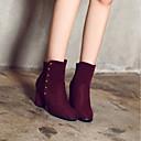 זול נעלי עקב לנשים-בגדי ריקוד נשים נעליים פליז סתיו חורף נוחות מגפיים עקב עבה מגפונים\מגף קרסול שחור / כחול / בורדו