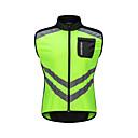 abordables Cascos para Ciclismo-WOSAWE Hombre Sin Mangas Chaleco de Ciclismo - Verde Bicicleta Chalecos / Camiseta / Maillot, Resistente al Viento, Bandas Reflectantes