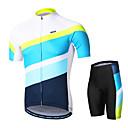 זול צִיוּר קִיר-Arsuxeo בגדי ריקוד גברים שרוול קצר חולצת ג'רסי ומכנס קצר לרכיבה - לבן אופניים מדים בסטים, 3D לוח