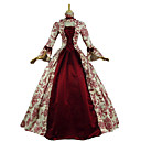 cheap Historical & Vintage Costumes-Rococo Victorian Costume Women's Dress Red Vintage Cosplay Natural Sponges 3/4 Length Sleeve Flare Sleeve Floor Length Long Length Halloween Costumes / Floral