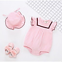 cheap Baby Girls' Clothing Sets-Baby Girls' Basic Solid Colored Sleeveless Cotton Romper Pink