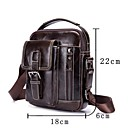 cheap Totes-Men's Bags Leather Shoulder Bag Zipper Coffee / Brown