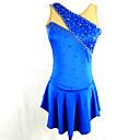 baratos Vestidos de Patinação no Gelo-Vestidos para Patinação Artística Mulheres Para Meninas Patinação no Gelo Vestidos Azul Pedrarias Lantejoulas Elasticidade Alta