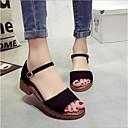 ieftine Sandale de Damă-Pentru femei Pantofi Piele nubuc Vară Confortabili Sandale Toc Îndesat Negru / Gri / Verde