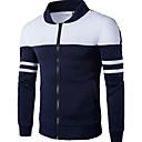 cheap Men's Oxfords-Men's Daily Basic Spring &  Fall / Winter Plus Size Regular Jacket, Color Block Stand Long Sleeve Polyester White / Navy Blue XXL / XXXL / 4XL