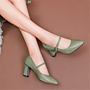 זול מוקסינים לנשים-בגדי ריקוד נשים נעליים עור אביב קיץ בלרינה בייסיק עקבים עקב עבה בוהן מחודדת לבן / שחור / ירוק