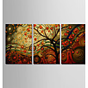 abordables Collares-Pintura al óleo pintada a colgar Pintada a mano - Abstracto Modern Incluir marco interior / Tres Paneles / Lona ajustada