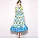 זול חלוקי אמבט-מקסי דפוס, פייסלי - שמלה סווינג בוהו / סגנון רחוב בגדי ריקוד נשים