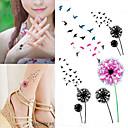 abordables Tatuajes Temporales-10 pcs Tatuajes Adhesivos Los tatuajes temporales Series de Flor Artes de cuerpo brazo / muñeca / hombro