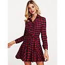 cheap Gags & Practical Jokes-Women's Cotton A Line Dress - Plaid V Neck