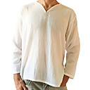cheap Men's Slip-ons & Loafers-Men's Linen T-shirt - Solid Colored V Neck / Long Sleeve