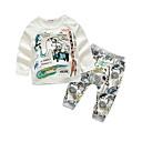 ieftine Set Îmbrăcăminte Băieți Bebeluși-Bebelus Băieți De Bază Imprimeu Imprimeu Manșon Lung Bumbac Set Îmbrăcăminte / Copil
