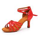baratos Sapatos de Salsa-Mulheres Sapatos de Dança Cetim Sapatos de Dança Latina Têni Salto Alto Magro Personalizável Vermelho / Espetáculo