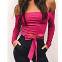 abordables Tatuajes Temporales-Mujer Algodón Camiseta, Escote Barco Un Color