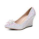 ieftine Sandale de Damă-Pentru femei Pantofi PU Primavara vara Balerini Basic pantofi de nunta Toc Platformă Vârf ascuțit Cristal / Sclipici Strălucitor Curcubeu / Nuntă / Party & Seară