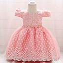 tanie Sukienki dla dziewczynek-Dziecko Dla dziewczynek Vintage Wyjściowe Solidne kolory Krótki rękaw Do kolan Bawełna Sukienka