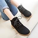 olcso Női Oxford cipők-Női Cipő Fordított bőr Tél Kényelmes Félcipők Vaskosabb sarok Fekete / Barna / Piros