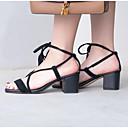 povoljno Ženske sandale-Žene Cipele Mekana koža Ljeto Udobne cipele Sandale Kockasta potpetica Zatvorena Toe Crn / Crvena