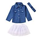 tanie The Freshest One-Piece-Dziecko Dla dziewczynek Aktywny Codzienny Nadruk Długi rękaw Długie Bawełna / Poliester Komplet odzieży Niebieski 100