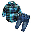 ieftine Set Îmbrăcăminte Băieți Bebeluși-Bebelus Băieți De Bază Plisat Imprimeu Manșon Lung Bumbac Set Îmbrăcăminte / Copil