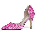 ieftine Sandale de Damă-Pentru femei Pantofi PU Vară Balerini Basic Tocuri Toc Stilat Vârf ascuțit Paiete Negru / Roz / Nuntă / Party & Seară