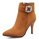 ieftine Mocasini de Damă-Pentru femei Pantofi Piele de Căprioară Toamna iarna Ghete / Cizme de Combat Cizme Toc Stilat Vârf ascuțit Cizme / Cizme la Gleznă Piatră Semiprețioasă Gri / Galben / Rosu