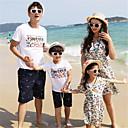 ieftine Set Îmbrăcăminte De Familie-Familie Uite De Bază Bloc Culoare Manșon scurt Set Îmbrăcăminte