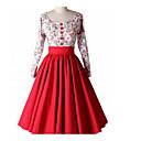 billige Husholdningsapparater-Dame I-byen-tøj Vintage Bomuld A-linje Kjole - Blomstret Midi U-hals