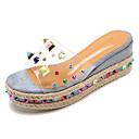 ieftine Saboți de Damă-Pentru femei Pantofi PU Vară Pantof cu Berete Sandale Toc Platformă Ținte Bej / Mov / Albastru