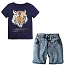 cheap Toilet Brush Holder-Toddler Boys' Tiger Print Short Sleeve Clothing Set