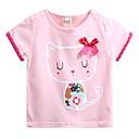 tanie Topy dla dziewczynek-Dzieci Dla dziewczynek Aktywny Codzienny Kot Nadruk Nadruk Krótki rękaw Regularny Bawełna T-shirt Rumiany róż 100