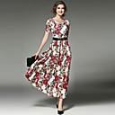 baratos Almofadas de Decoração-Mulheres Moda de Rua / Sofisticado balanço Vestido - Renda / Estampado, Floral Longo