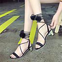ieftine Tocuri de Damă-Pentru femei Pantofi PU Vară Confortabili / Pantofi pe Gleznă Sandale Toc Îndesat Negru / Roz