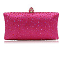 cheap Clutches & Evening Bags-Women's Bags Satin Evening Bag Crystals Blushing Pink / Fuchsia / Silver