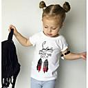 お買い得  赤ちゃん トップス-赤ちゃん 女の子 活発的 プリント 半袖 ポリエステル Tシャツ ホワイト / 幼児