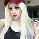 halpa Videopeli-asut-Synteettiset peruukit Suora Vaaleahiuksisuus Synteettiset hiukset Keskijakaus Vaaleahiuksisuus Peruukki Naisten Pitkä Suojuksettomat Blonde