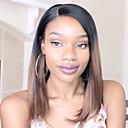 halpa Aitohiusperuukit verkolla-Virgin-hius Liimaton puoliverkko Lace Front Peruukki Bob-leikkaus Suora otsatukka Rihanna tyyli Brasilialainen Suora Yaki Ombre Peruukki 130% Hiusten tiheys ja vauvan hiukset Liukuvärjätyt hiukset