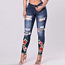 preiswerte Halsketten-Damen Street Schick Skinny Jeans Hose - Loch / Ripped, Blumen / Stickerei / Denim / Ausgehen / Übergrössen