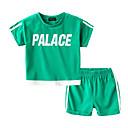 baratos Camisas para Meninos-Bébé Para Meninos Básico Sólido Manga Curta Conjunto